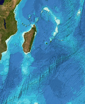 Bathymetry data for part of the Indian Ocean from the GEBCO Grid