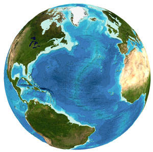 Bathymetry data for the Atlantic Ocean region from the GEBCO grid
