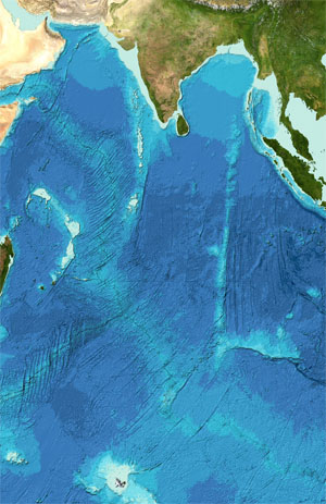 Bathymetry of the Indian Ocean area from the GEBCO grid