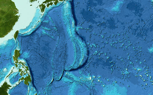 Bathymetry of the Mariana Trench Region in the Pacific Ocean from the GEBCO grid