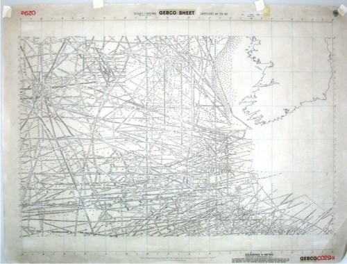 Traditional bathymetric plotting sheet showing the position of soundings