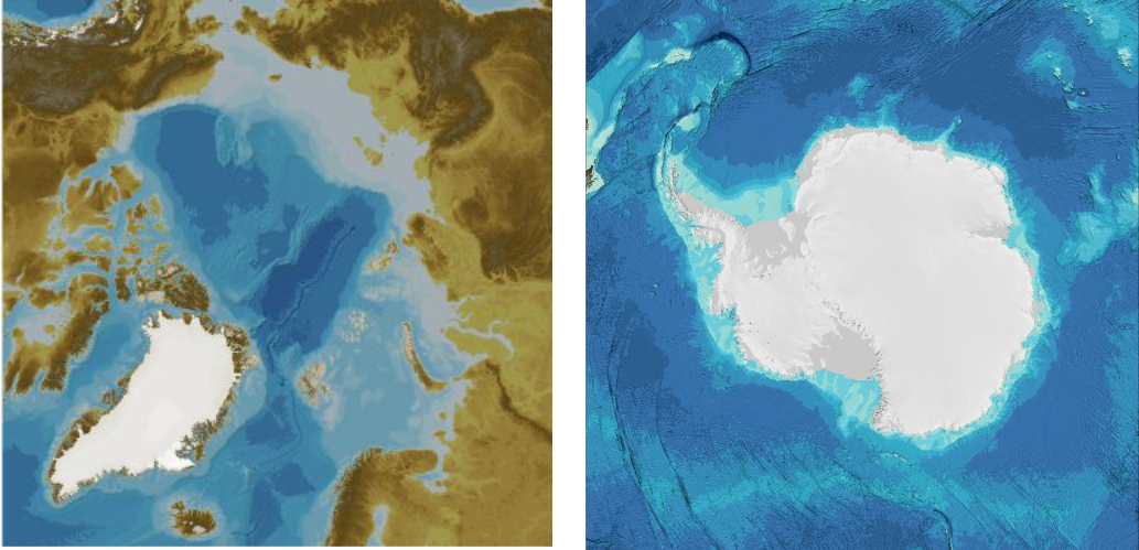Bathymetry for part of the Arctic Ocean area. The left-hand image shows the area without the Greenland Ice Sheet and the right-hand image, with the Greenland Ice Sheet and other ice-covered areas.