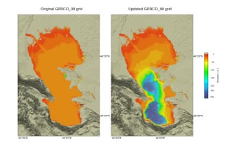 Click to view a comparison plot between the exisiting and updated GEBCO_08 Grid for the Caspian Sea region