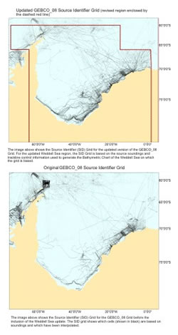 Click to view a comparison plot between the Source Idenitifer Grid for the exisiting and updated GEBCO_08 Grid for the Weddell Sea region