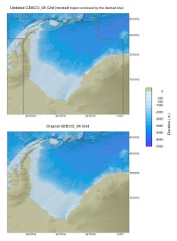 Click to view a comparison plot between the exisiting and updated GEBCO_08 Grid for the Weddell Sea region