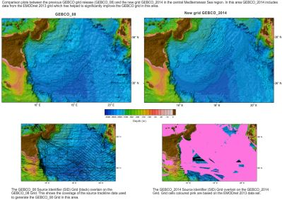Click to view a comparison plot between the old GEBCO_08 Grid and the GEBCO_2014 Grid for the central Mediterranean Sea region