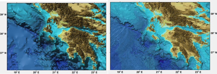 Comparison of the GEBCO One Minute Grid (left) and GEBCO's latest data set, the GEBCO_2019 Grid (right), for part of the Ionian Sea region off Greece