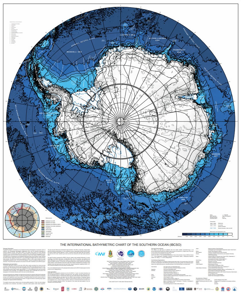 Printable version of the International Bathymetric Chart of the Southern Ocean (IBCSO)