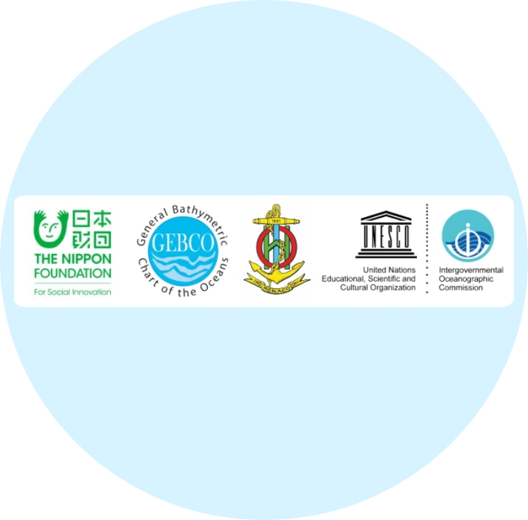Logos of the Nippon Foundation, GEBCO, International Hydrographic Organization (IHO) and Intergovernmental Oceanographic Commission (IOC)