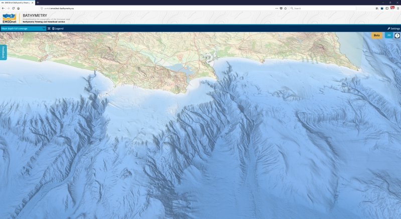 3D view of submarine canyons off the coast of Portugal near Lisbon from the EMODnet grid viewer