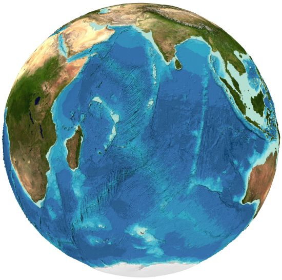 Bathymetry of the Indian Ocean from the GEBCO grid