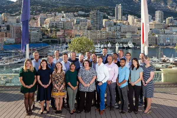 Members of the GEBCO-NF Alumni Team and partners at the IHO in Monaco, with IHO Secretary General Mathias Jonas. Credit: Rebecca Marshall