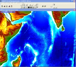 Viewing bathymetry data for part of the Indian Ocean.