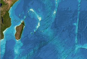 Bathymetry data from the GEBCO_2014 Grid for part of the Indian Ocean area