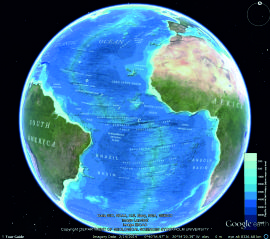 gebco world map image displayed in google earth