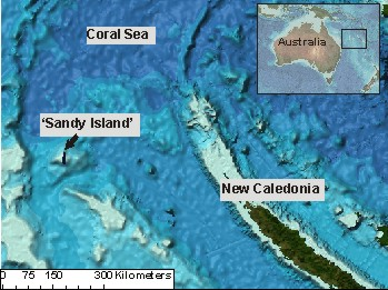The location of Sandy Island as shown in the current version of the GEBCO_08 Grid seafloor terrain model