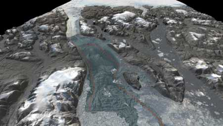 3D-visualization showing the seafloor bathymetry of the previously uncharted Sherard Osborn Fjord, north Greenland. The red line illustrates the inflowing warmer water of Atlantic origin that is partly prevented from reaching Ryder Glacier by a bathymetric shoal.