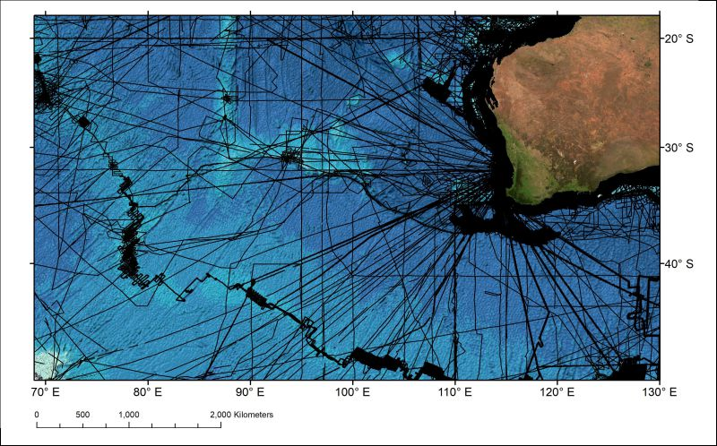 Coverage of ships tracklines along which bathymetric depth measurements have been made in the Indian Ocean area west of Australia