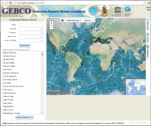 GEBCO Gazetteer of Undersea Feature Names is now available to view and download through a web application.