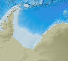 Bathymetry of the Weddell Sea region from the latest release of the GEBCO_08 Grid