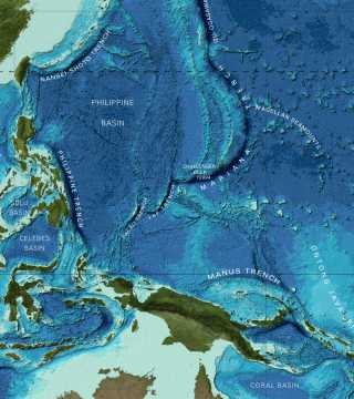 Bathymetry of part of the Pacific Ocean from the GEBCO world map